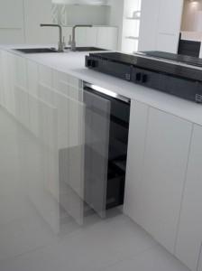 natural lava stone, wood steel and aluminium achieves geometrical harmony Italian white kitchens design