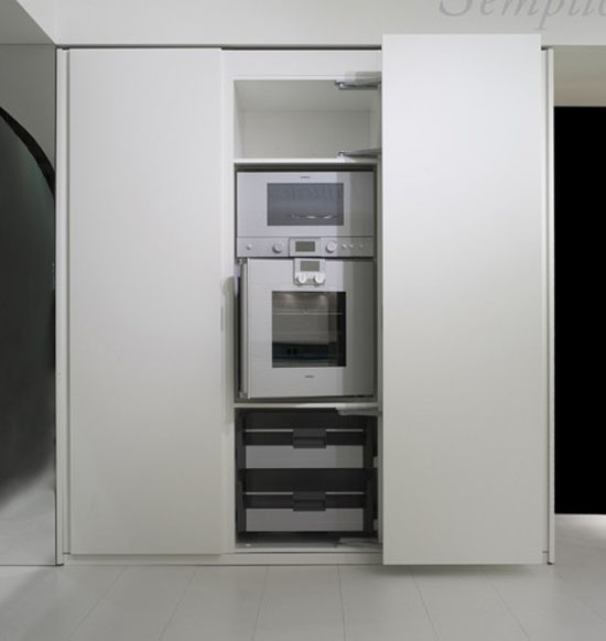 natural lava stone, wood, steel and aluminium achieves geometrical harmony Italian white kitchens design