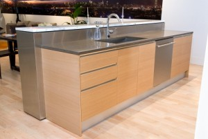 natural wooden display cabinet with stainless fixtures