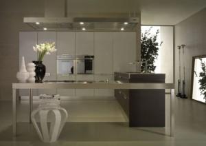 neutral tones kitchen Contrasting glossy white and matt blacks pantry from Salvarani
