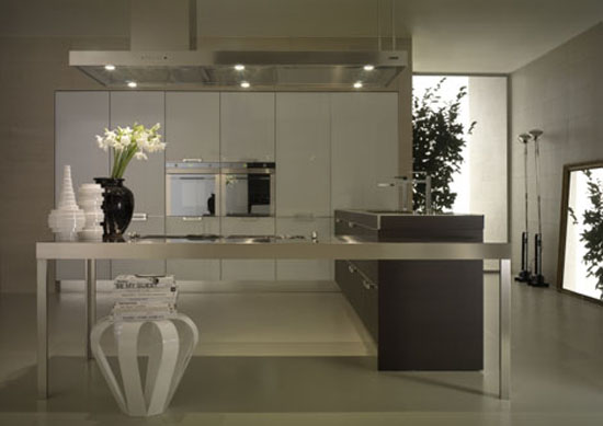 neutral tones kitchen Contrasting glossy white and matt blacks pantry from Salvarani