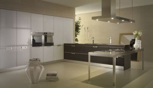 neutral tones kitchens Contrasting glossy white and matt black pantry from Salvarani