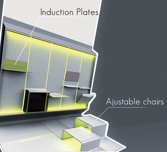 new concept of kitchen design with LEDs display adjustable chairs by Ciprian Frunzeanu