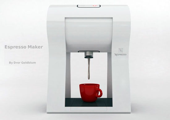 new innovation white Espresso maker on Four Legs by Dror Goldblum