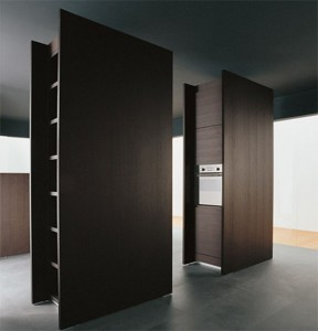 new kitchen combines dark wood and tall stature precise clean designed inminimal size