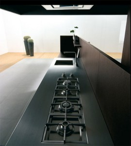 new kitchen combines dark wood and tallstature precise clean designed in minimal size