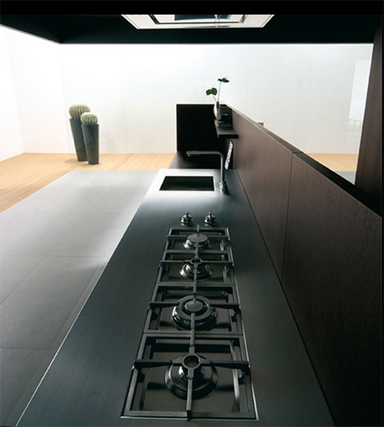 new kitchen combines dark wood and tall stature precise clean designed in minimal size