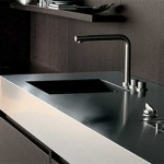 new kitchen combines dark woodand tall stature precise clean designed in minimal size