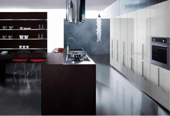 New kitchen design in black and white color combination