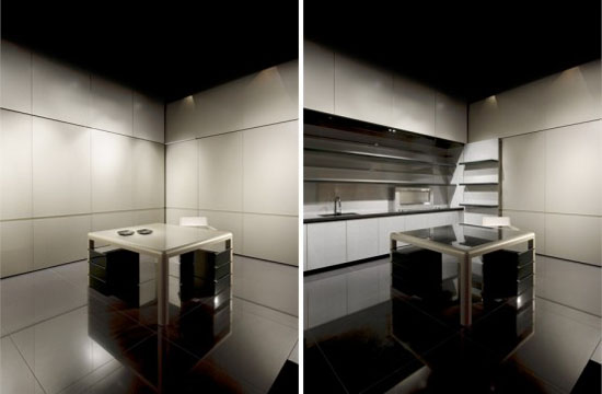 new kitchen design satin finish minimalist futuristic from Armani Casa