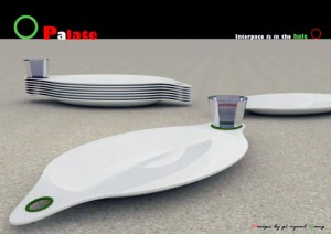 new plate design in futuristic style with sauce place