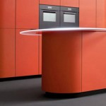 Orange kitchen design in minimalist theme