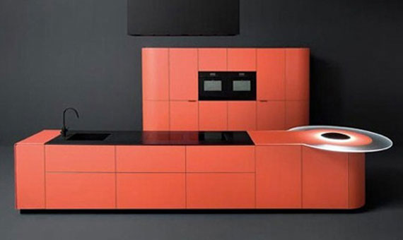 Orange kitchen design in minimalist theme concept