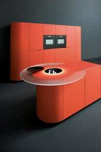 Orange kitchen design in minimalist theme idea