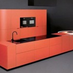 Orange kitchen island design in minimalist theme