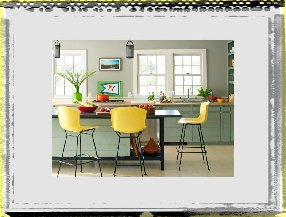 original_DD Allen yellow barstools kitchen soft green cabinet kitchen ideas colors