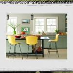 original_DD Allen yellow barstools kitchen soft green cabinets kitchen ideas colors