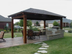 To help protect against the elements, many models of outdoor cooking incorporate some shelter.