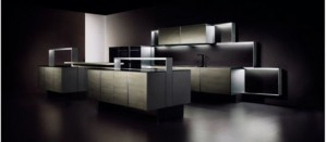 premium materials black granite and brushed aluminum Kitchen Porsche design with sleek design