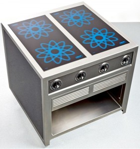 professional kitchen a small cube finished in a contemporary carbon fiber enclosure
