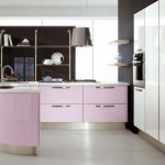 purple and pink kitchen provide enough room for cooking and dinner