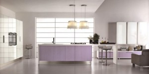 purple and pink kitchen provides enough room for cooking and dinner