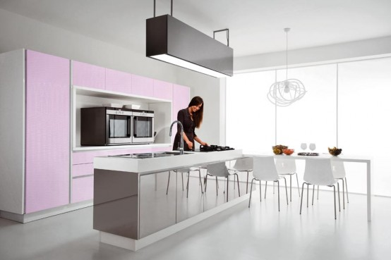 purple and pink kitchens provides enough room for cooking and dinner