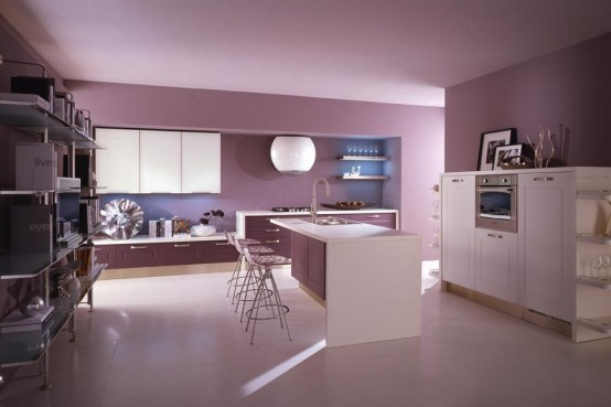 purple pink kitchen provides enough room for cooking and dinner