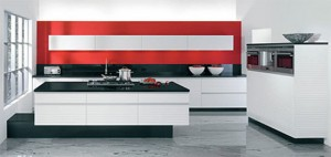 red and white modern kitchen design with no handles with free standing cooking island