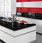red and white moderns kitchen design with no handles with free standing cooking island
