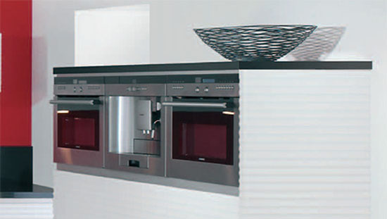 red  white modern kitchen design with no handles with free standing cooking island