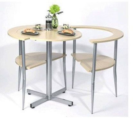 Round breakfast table in brown set simple to assembly for for Compact kitchen table set