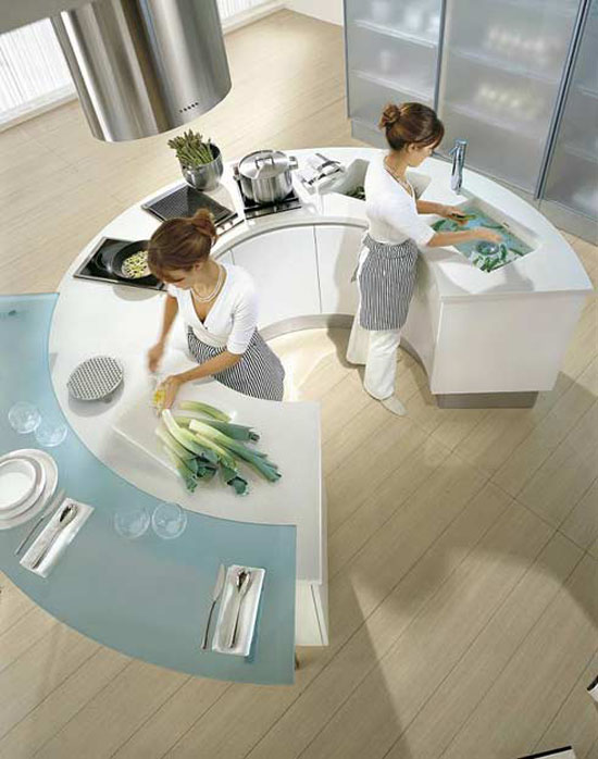 round kitchen countertop or small circular bar is ergonomics and stunning look