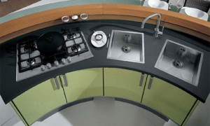 rounded kitchen design has strict straight passageway and linear surfaces by Cucine Lube