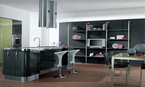 rounded kitchen design has strict straight passageway linear surfaces by Cucine Lube