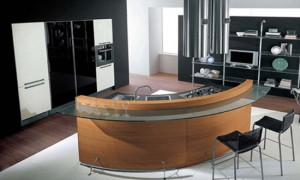 rounded kitchen design has strict straight passageways and linear surfaces by Cucine Lube