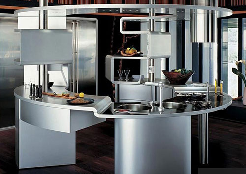 rounded kitchen with stainless steel for minimalist kitchen style