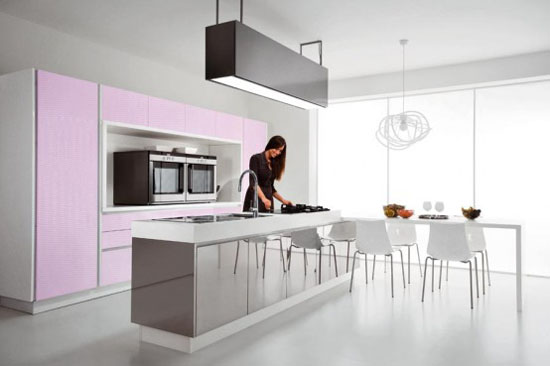 rounded light purple and pink sCucine Kitchens by Cucine Lube