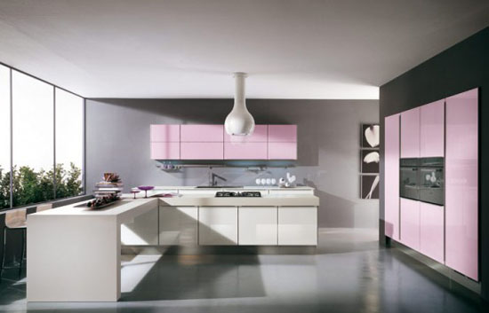 rounded lights purple and pink Cucine Kitchens by Cucine Lube