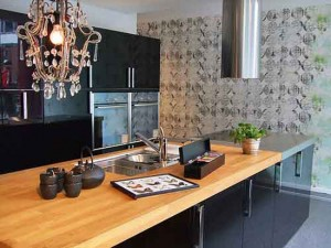 scandinavian kitchens with large pattern on walls from Copenhagen