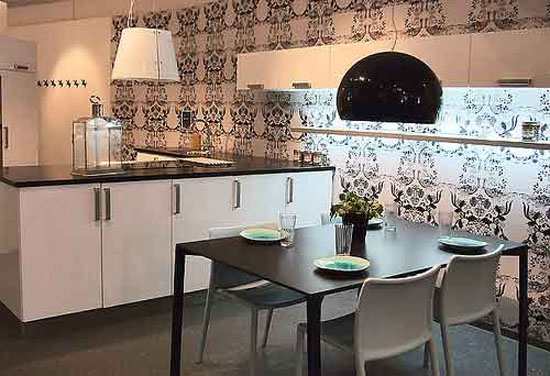 scandinavian kitchens with large patterns on wall from Copenhagen