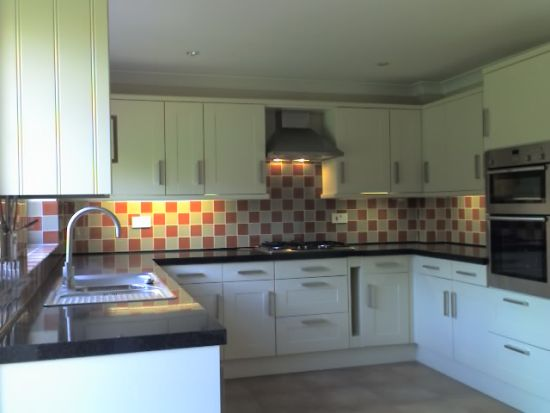 shaker cream kitchen plus lighting