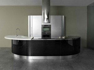shiny and clean stainless steel Modern Kitchen Design adds function and convenience for cooking