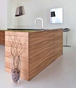 simply slide tempered glass backsplash green corian Zen like design by Toffini