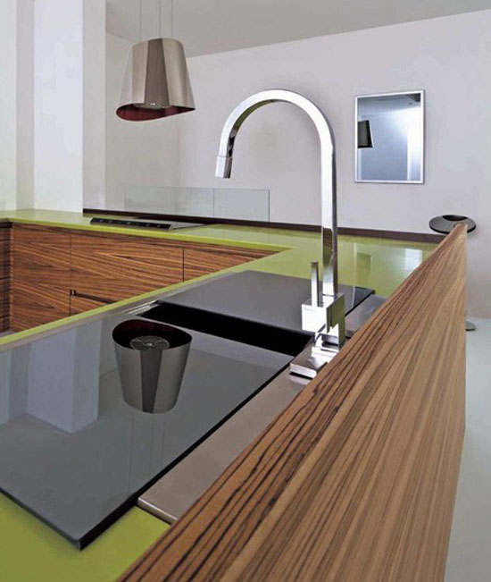 simply slide tempered glass backsplash in green corian Zen like design by Toffini