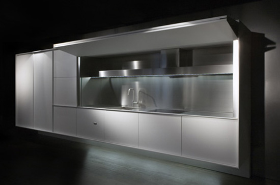 singular monoblock piece Fully Enclosed Kitchen simple lines minimalist products from Boffi