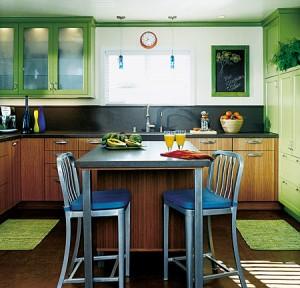 small kitchen design planning by light green colour scheme