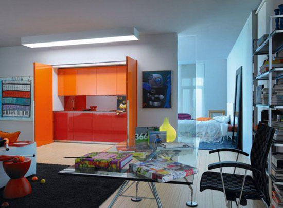 smalls kitchen in little apartment gives living space for young girl