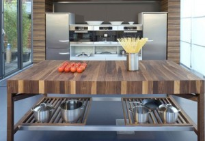 solid wood kitchen island slides open with powerful magnetic field by Schulte Grace German