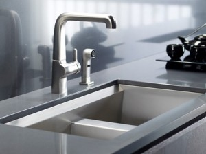 stainless steel kitchen sink with beveled edge